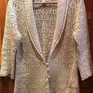 Crochet Look Off White Cotton 3/4 Sleeve Cardigan